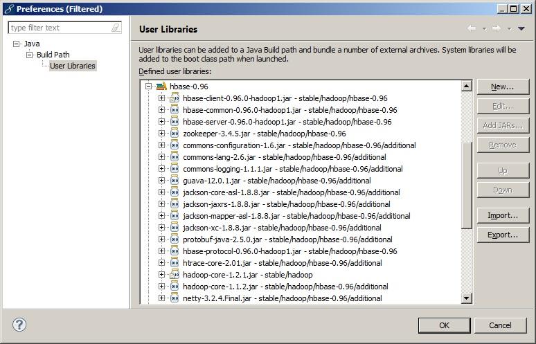Библиотеки необходимые для запуска клиента HBase